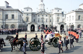 CEREMONIAL PROCESSION ENTERS WHITEHALL